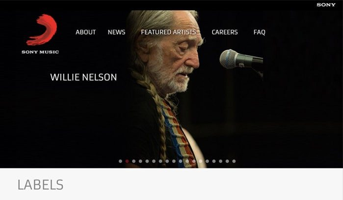 siti famosi realizzati con wordpress sony music web agency creorin