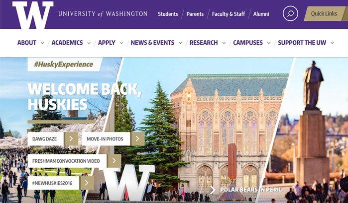 siti famosi realizzati con wordpress università washington web agency creorin